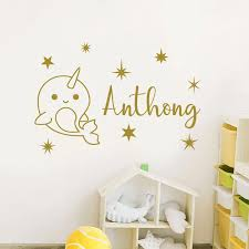 Narwhal Wall Decal Personalized Name Nautical Vinyl Home Decor Kids Room Vinyl Sticker Custom Name Nursery Stars Bedroom 3n08 Wall Stickers Aliexpress