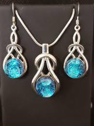 dichroic glass earring pendant set