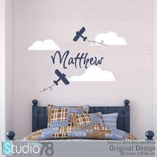 Airplane Wall Decals Personalized Name Boy Nursery Decal Etsy