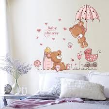 New Kawaii Couple Bears Umbrella Wall Stickers For Kids Rooms Wall Decal Art Children Bedroom Decor Nursery Baby Shower Gift Wall Stickers Aliexpress
