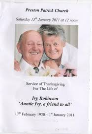 The Funeral - Ivy Robinson's Memorial
