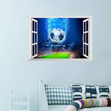 3d Window Football Soccer Ball Wall Stickers For Kids Rooms Living Room Wall Decals Gym Boys Room Pvc Home Mural Art Decorations Wall Stickers Aliexpress