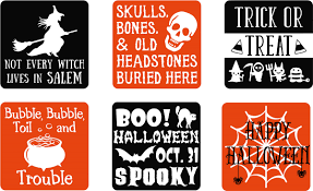 Set Of 6 Vinyl Decal Stickers For Glass Blocks Halloween Gift Holiday Home Decor