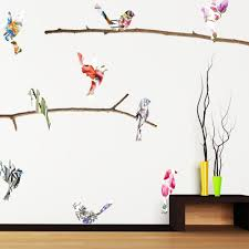 Watercolor Birds Branches Mount Wall Decals On White Background Bird Wall Decals Adhesive Wall Art Watercolor Bird