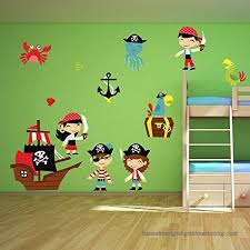 Cartoon Pirate Wall Sticker Set Pirate Ship Wall Decal Kids Bedroom Home Decor Available In 8 Sizes Xx Large Digital 502a9huxn