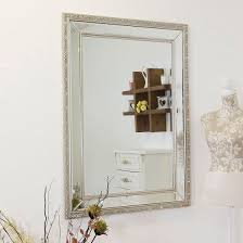 glass silver edged bevelled wall mirror