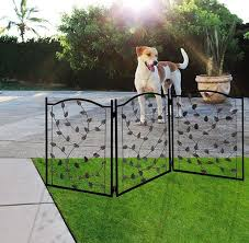 Lexi Home Folding Pet Gate Leaf Design Retractable Dog Gate 50 Dog Gates Indoor Outdoor Wide Pet Gate Lexi Home Massgenie Com