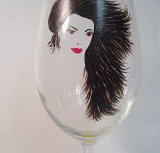 hand painted wine glasses black hair
