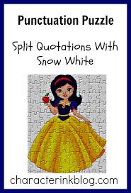 punctuation puzzle split quotations snow white character ink