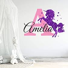 Amazon Com Nursery Girls Purple Glitter Sparkle Printed Unicorn Custom Personalized Name And Initial Wall Decal Wall Decor Wall Stickers Medium Kitchen Dining