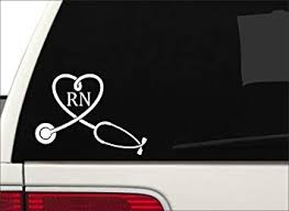 Amazon Com Jay Graphics Rn Nurse Heart W Stethoscope Window Decal Sticker Car Suv Rn Md 5x7 White Automotive