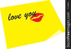 note love you and kiss free stock