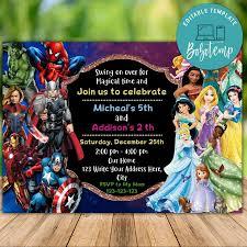 Invitacion De Cumpleanos Conjunta Imprimible De Superheroe Y