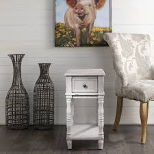 narrow farmhouse end table with drawer