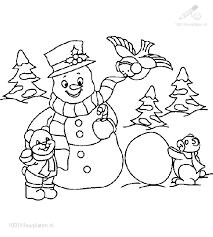 Kleurplaat Kerst Sneeuwpop Sneeuwpop Kleurplaat