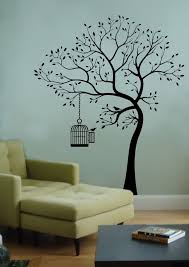 Wall Decal Big Tree Bird W Cage Deco Art Sticker Mural Tree Design On Wall Tree Wall Painting Wall Paint Designs