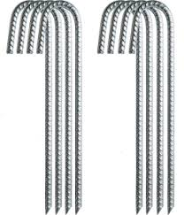 8x Galvanized Rebar Tent Stakes J Hook 12 Inch Dog Dig Defence Chain Link Fence Ebay