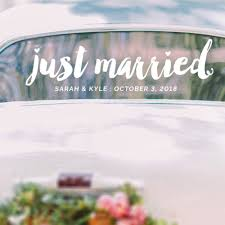 Just Married Sticker Custom Vinyl Decal Simple Wedding Car Room Decoration Modern Wedding Decals Z172 Wall Stickers Aliexpress