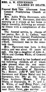 Death of Mrs. Addie White Stevenson, 1927 - Newspapers.com