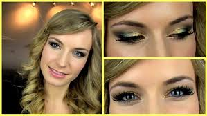 prom makeup tutorial gold green smokey