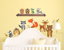 Forest Animals Wall Decals Peel And Stick Bear Fox Owl Bunny Raccoon Birds Fabric Reusable Stickers Nursery Decor 1408 Innovativestencils