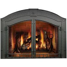 arched fireplace double doors