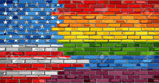 Brick Wall USA And Gay Flags - Illustration, Rainbow Flag On ...