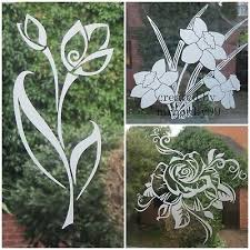 Etched Glass Vinyl Flowers Decal For Patio Door Windows Showers Mirrors 2 51 Picclick