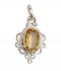 yellow sapphire pendant locket silver