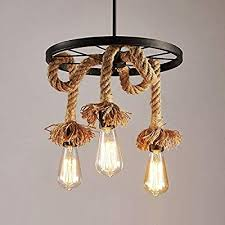 lights hemp rope hanging ceiling light