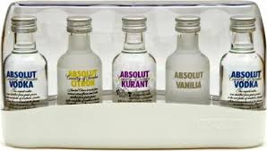 absolut vodka 5 x 5cl miniature gift set
