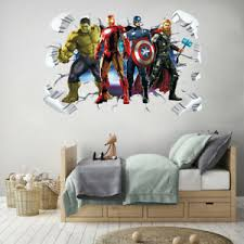 Super Hero Avenger 3d Wall Sticker Boys Kids Playroom Cartoon Wall Decal Removal Ebay