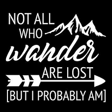 Amazon Com Not All Who Wander Are Lost But I Probably Am Funny Nok Decal Vinyl Sticker Cars Trucks Vans Walls Laptop White 5 5 X 5 5 In Nok414 Kitchen Dining