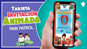 Tarjeta De Invitacion Animada De Paw Patrol Somos Motta