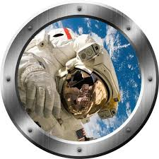 Astronaut Outer Space Window Porthole Removable Wall Decal Ps16