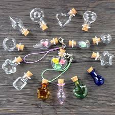 glass bottles cork vials pendant