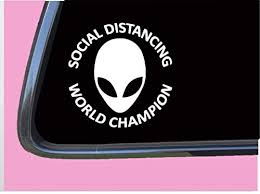 Amazon Com Alien Sticker Social Distance Tp 1228 6 Inch Decal Area 51 Ufo Spaceship Martian Handmade