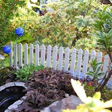 Miniature Garden White Wood Fence With Stakes For Fairy Gardens Too Two Green Thumbs Miniature Garden Center