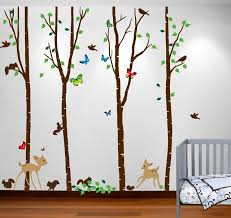 birch tree forest set with deer birds