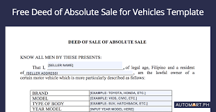 deed of sle for cars