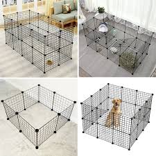 4 6 Panels Pet Playpen Indoor Small Animal Cage Portable Metal Wire Yard Fence For Hamster Guinea Pigs Rabbits Diy Kennel Crate Fence Cage Wish