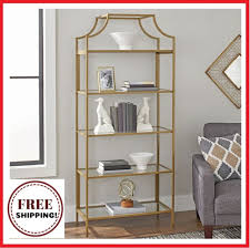 gold metal glass bookcase shelf large