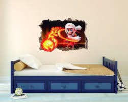 Amazon Com Fireball Character Wall Decal 3d Smashed Wall Effect Wall Decal For Home Decoration Wide 20 X14 Height Inches Arts Crafts Sewing