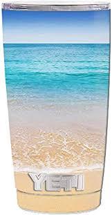 Amazon Com Skin Decal Vinyl Wrap 5 Piece Kit For Yeti 20 Oz Rambler Tumbler Cup Bahamas Beach Kitchen Dining