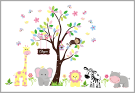 Girl Theme And Spring Colors Personalized Jungle Wall Decals Baby Nurserydecals4you