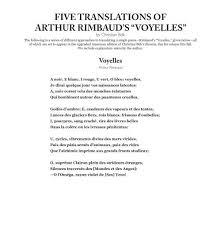five translations of arthur rimbaud s