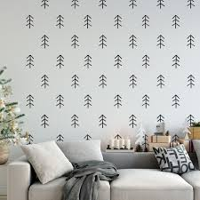 Rustic Scandinavian Woodland Tree Wall Decals Thin Wall Star Graphics