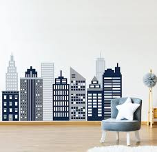 Large Navy Cityscape Wall Decal City Skyline Wall Decals Etsy In 2020 Cityscape Mural Skyline Mural Kids Wall Murals