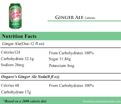 how many calories in ginger ale how