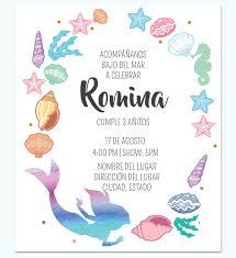 Invitacion La Sirenita Colores Invitaciones De La Sirenita